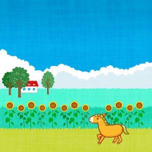 地平線 草原 馬