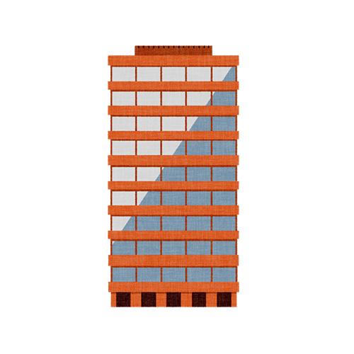 赤レンガ色のビル
