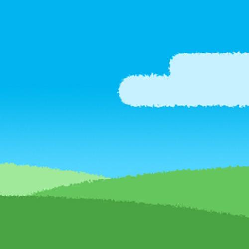 青空と緑の丘(風景)