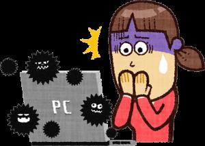 PCがウィルスに感染して恐怖している女性